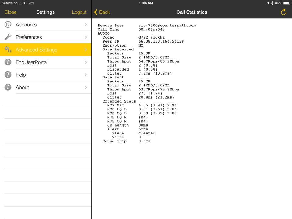 Bria client settings