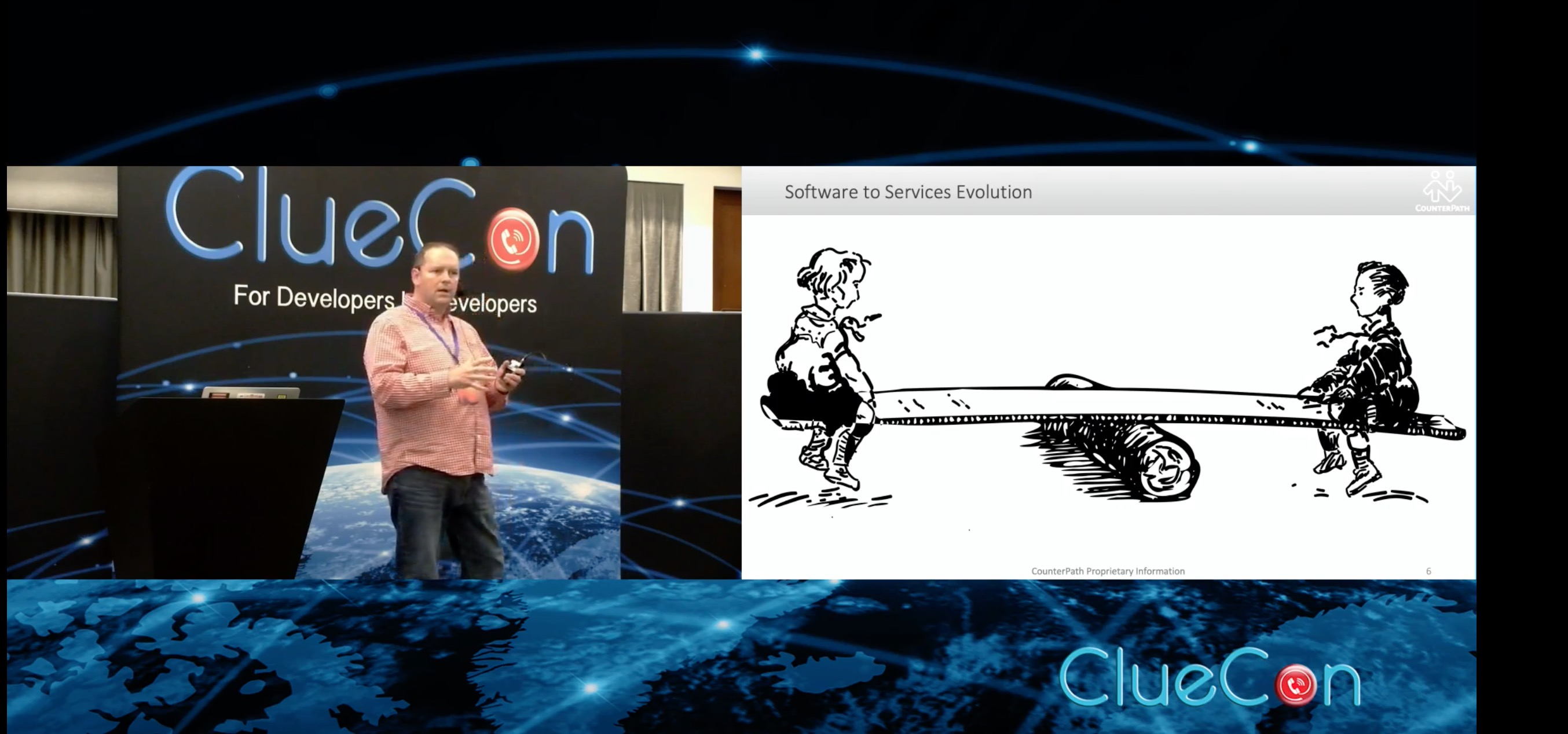 Jim presenting at ClueCon 2019