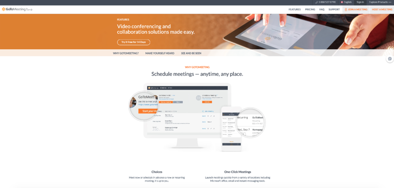 GoToMeeting offers various video conferencing features
